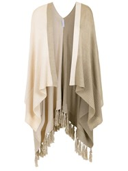 Mara Mac Fringed Knitted Coat Nude And Neutrals
