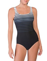 Reebok Ombre Striped One Piece Swimsuit Grey