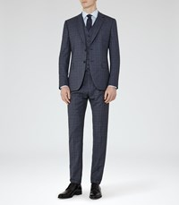 Reiss Crow Modern Fit Check Suit In Blue
