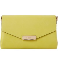 Dune Exie Textured Clutch Bag Lime Plain Synthetic