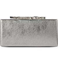 Jimmy Choo Celeste Metallic Leather Clutch Vintage Silver