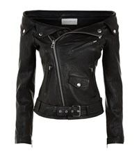 Faith Connexion Off Shoulder Leather Jacket Female Black