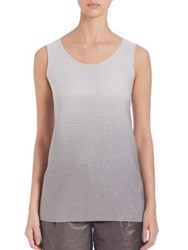 Lafayette 148 New York Silk And Cotton Sequin Ombre Tank Top Sterling