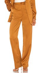 Kendall Kylie Charlie Satin Pant In Burnt Orange. Butterscotch