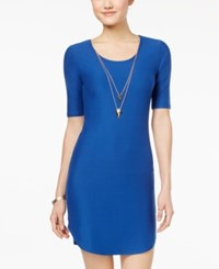 Planet Gold Juniors' Necklace Bodycon Dress Blue