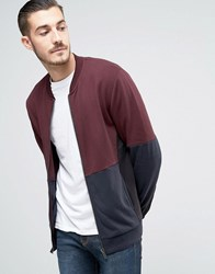 Asos Fleece Back Jersey Bomber Jacket In Colour Block Oxblood Red