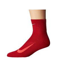 Nike Elite Run Lightweight 2.0 Quarter Gym Red Bright Crimson Quarter Length Socks Shoes