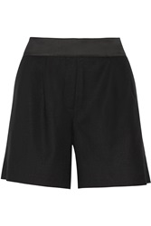 Karl Lagerfeld Evelia Satin Trimmed Stretch Wool Twill Shorts