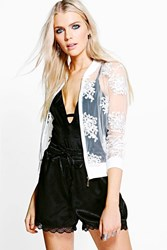 Boohoo Mesh Lace Applique Bomber Ivory