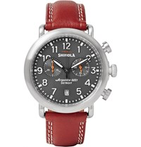 Shinola The Runwell 41Mm Stainless Steel And Leather Chronograph Watch Brown