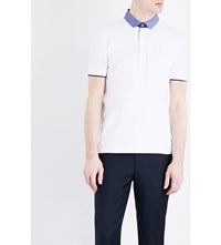 Armani Collezioni Stretch Cotton Polo Shirt White