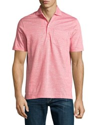 Luciano Barbera Cotton Linen Blend Polo Shirt Pink