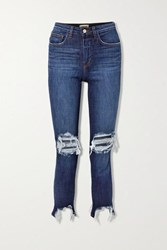 L'agence High Line Cropped Distressed High Rise Skinny Jeans Dark Denim