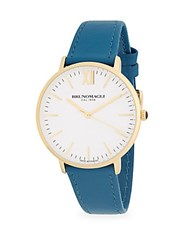 Bruno Magli Stainless Steel Slim Leather Strap Watch Gold