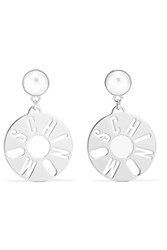 Moschino Silver Tone Faux Pearl Earrings One Size