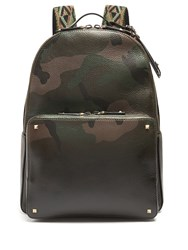 Valentino Camouflage Print Grained Leather Backpack Green Multi