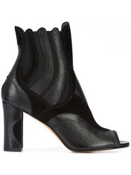Derek Lam Peep Toe Ankle Boots Women Leather Karung Goat Suede 37 Black