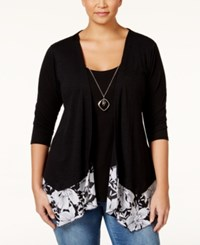 Ny Collection Plus Size Layered Look Top Black Multi