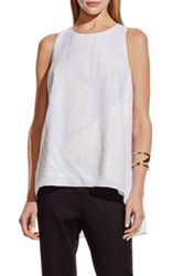 Vince Camuto Sequin Front High Low Blouse White