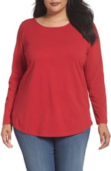 Sejour Plus Size Women's Ballet Neck Long Sleeve Tee Red Chili