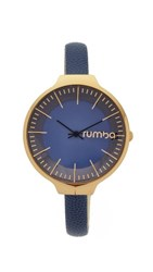 Rumbatime Orchard Leather Midnight Blue Watch Gold Midnight Blue