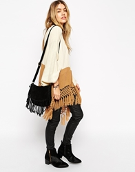 Asos Cape Cardigan With Fringing Creamcamel