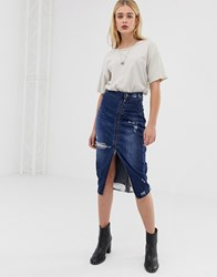 One Teaspoon Midi Skirt With Zip And Rip Detail Blue Moon