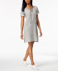 Styleandco. Style Co French Terry Lace Up Dress Created For Macy's Stormy Heather