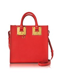 Sophie Hulme Coral Red Albion Saddle Leather Square Tote