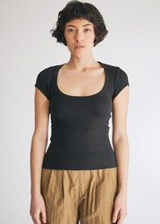 Which We Want Marley Scoop Neck T Shirt In Black Size Small Spandex