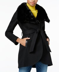 Rachel Roy Faux Fur Collar Belted Walker Coat Only At Macy's Black