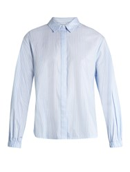 Elizabeth And James Estelle Striped Cotton Poplin Shirt Blue White