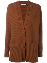 Vince Wool Cashmere Blend Waffle Knit Cardigan Yellow And Orange