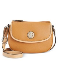Giani Bernini Saffiano Top Zip Mini Saddle Bag Only At Macy's Rust