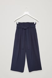 Cos Wide Waist Pleated Trousers Blue