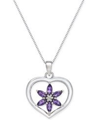 Macy's Amethyst 1 2 Ct. T.W. And Diamond Accent Flower Heart Pendant Necklace In Sterling Silver White Gold