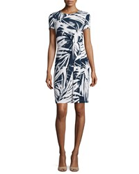 Lafayette 148 New York Brushstroke Pleated Sheath Dress Delft White