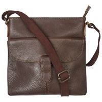 Fat Face Mini Flap Leather Across Body Bag Chocolate