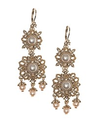 Marchesa Ornate Chandelier Drop Earrings White Gold