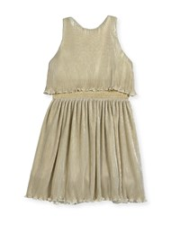 Zoe Gia Metallic Pleated Popover Dress Size 7 16 Gold