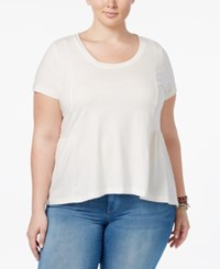 American Rag Trendy Plus Size Cotton Peplum T Shirt Only At Macy's Egret