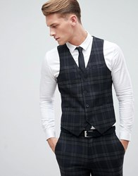 Only And Sons Skinny Waistcoat In Check Black
