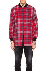 R 13 R13 Flight Shirt In Red Checkered And Plaid