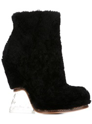 Fendi Clear Sculptural Heel Wedged Boots Black