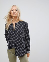 Maison Scotch Patterned Collarless Shirt 67 Combo X Navy