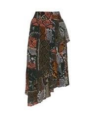Preen Line Lilly Snake Print Asymmetric Skirt Multi