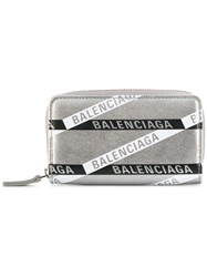 Balenciaga Everyday Zip Around Card Holder Silver