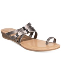 Bar Iii Vanita Toe Ring Wedge Sandals Only At Macy's Women's Shoes Pewter
