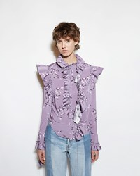 Vetements Flower Print Blouse Purple Print