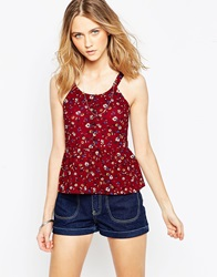 Influence Ditsy Button Through Frilled Hem Cami Top Maroon